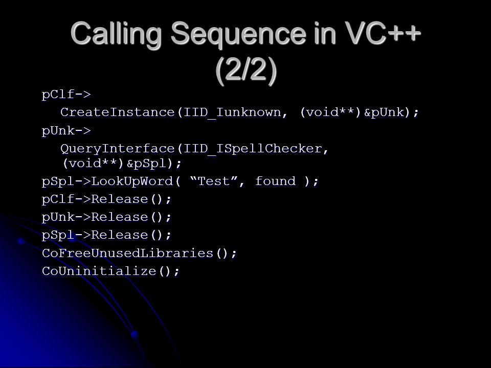 Calling Sequence in VC++ (2/2)