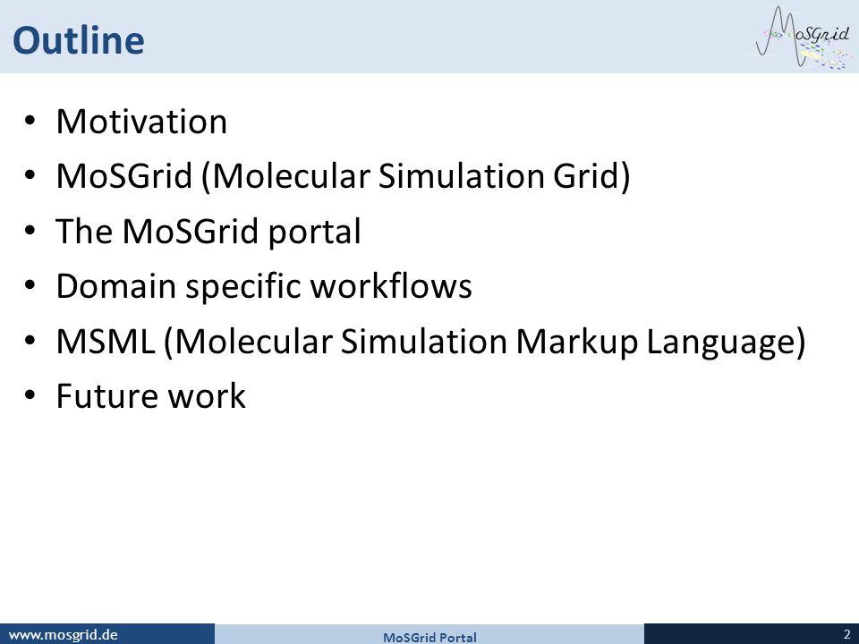 Outline Motivation MoSGrid (Molecular Simulation Grid)