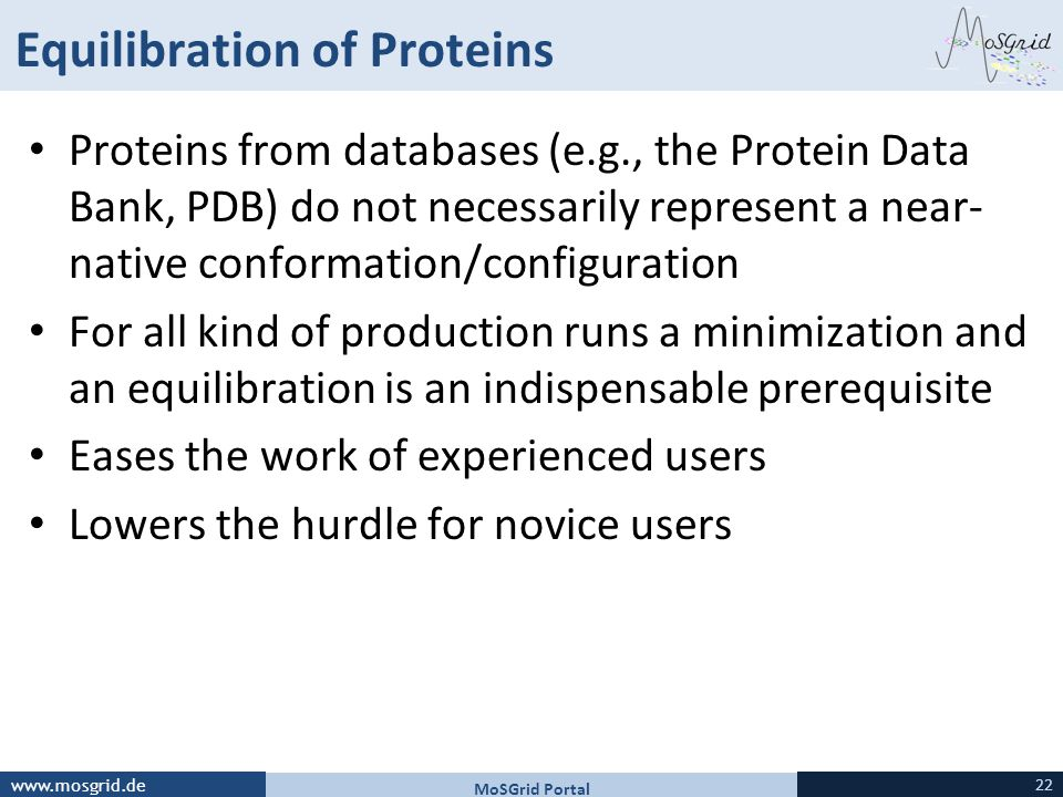 Equilibration of Proteins