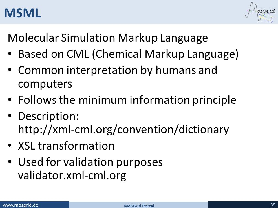 MSML Molecular Simulation Markup Language