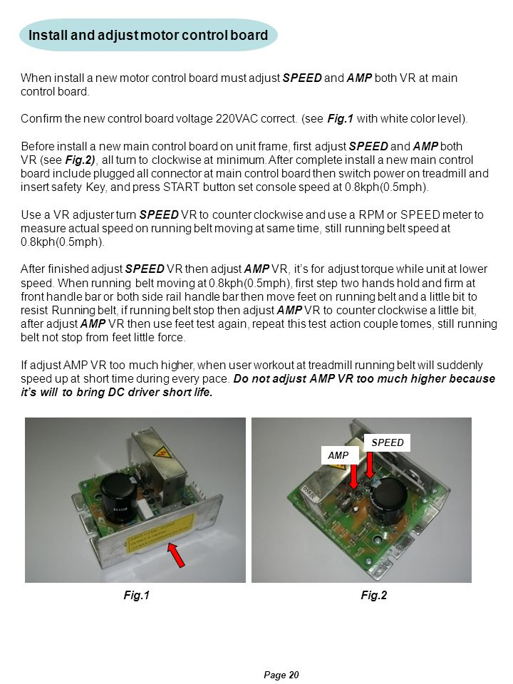 Install and adjust motor control board