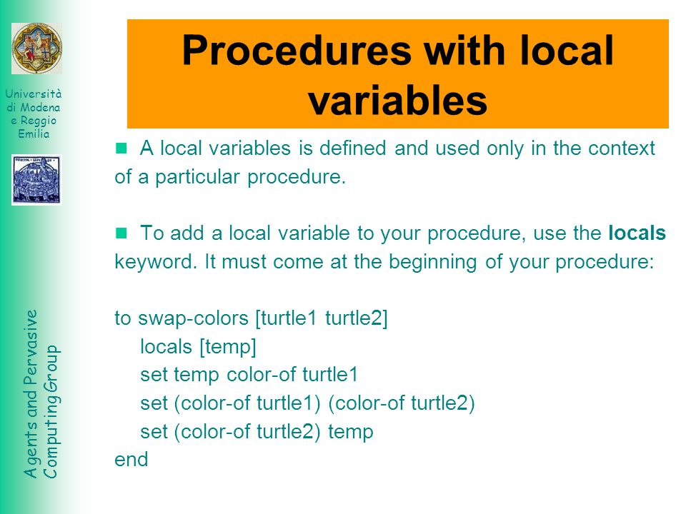Procedures with local variables