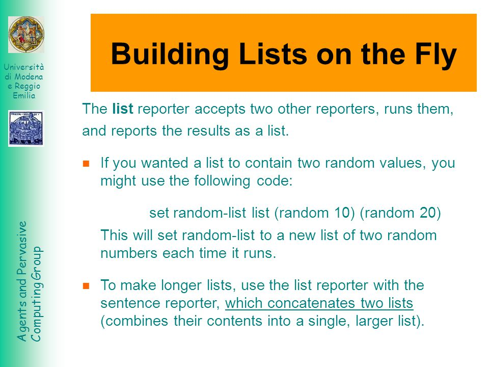 Building Lists on the Fly