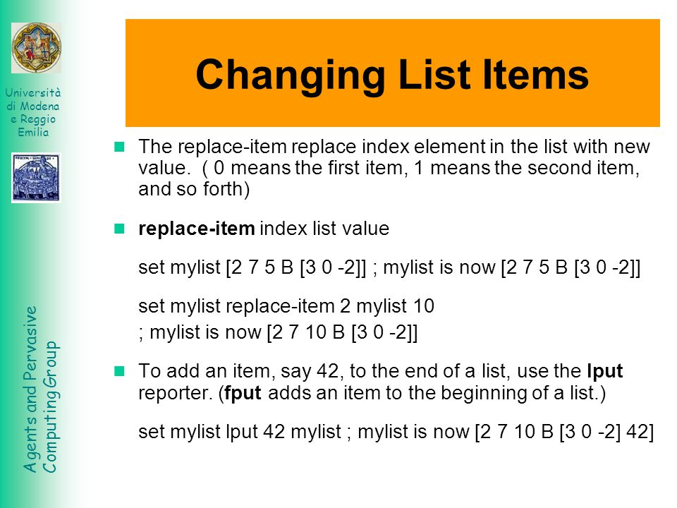 Changing List Items