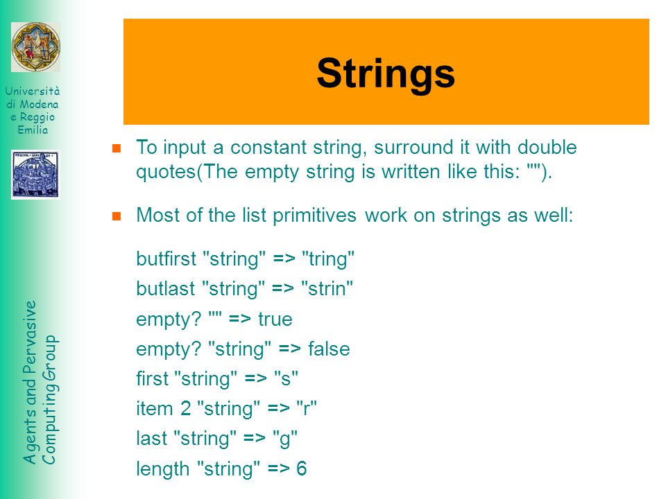 Strings To input a constant string, surround it with double quotes(The empty string is written like this: ).