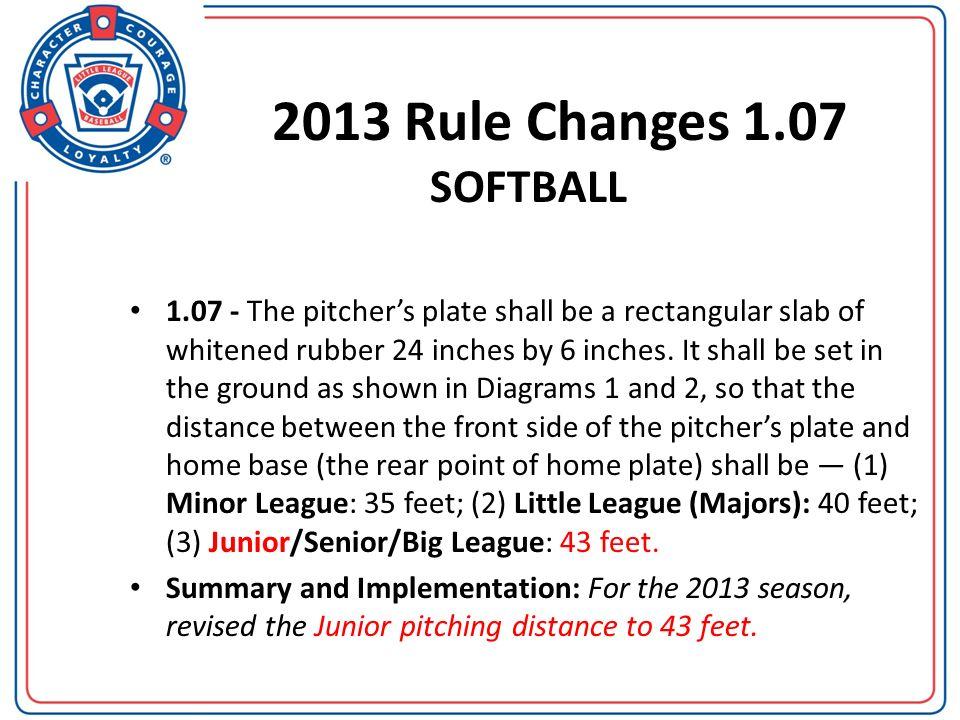 2013 Rule Changes 1.07 SOFTBALL.