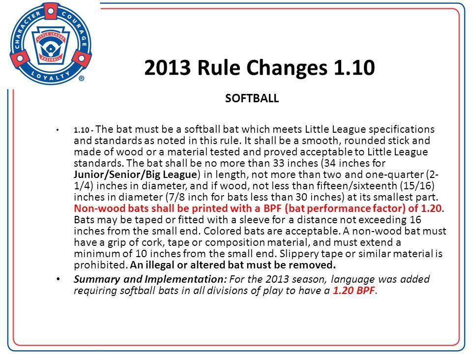 2013 Rule Changes 1.10 SOFTBALL.
