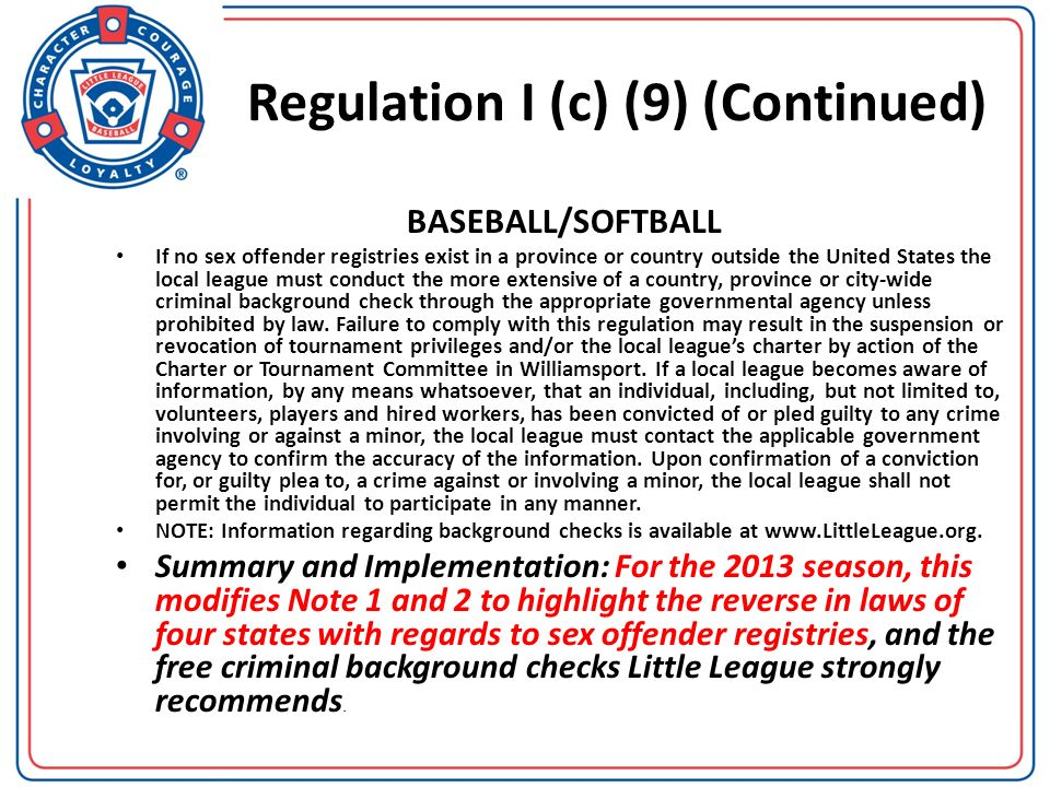 Regulation I (c) (9) (Continued)