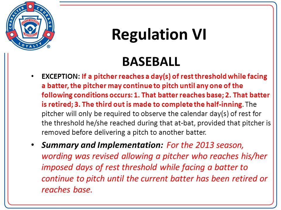Regulation VI BASEBALL