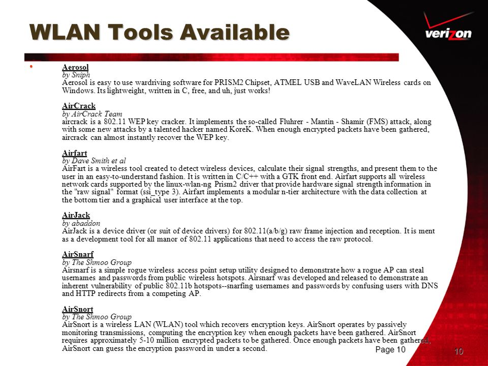 WLAN Tools Available