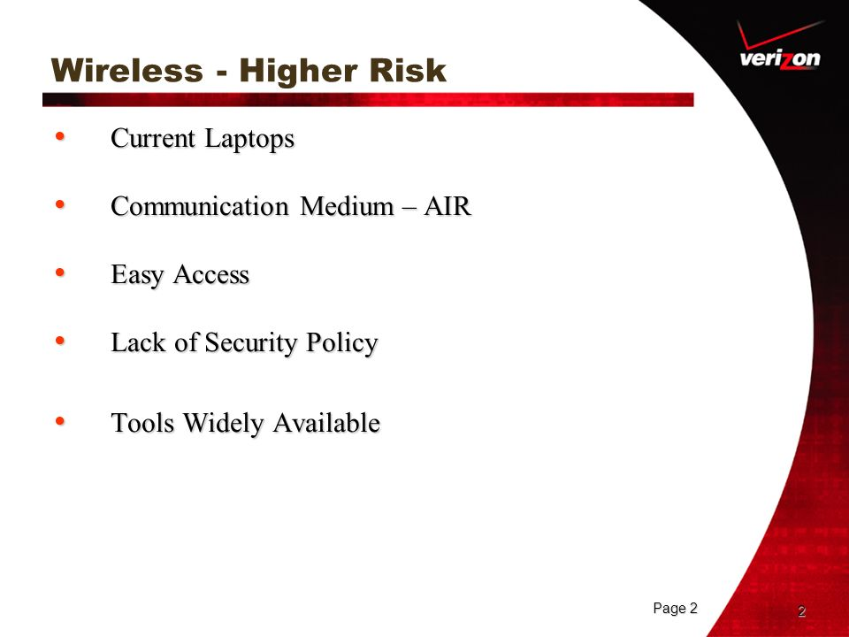 Wireless - Higher Risk Current Laptops Communication Medium – AIR