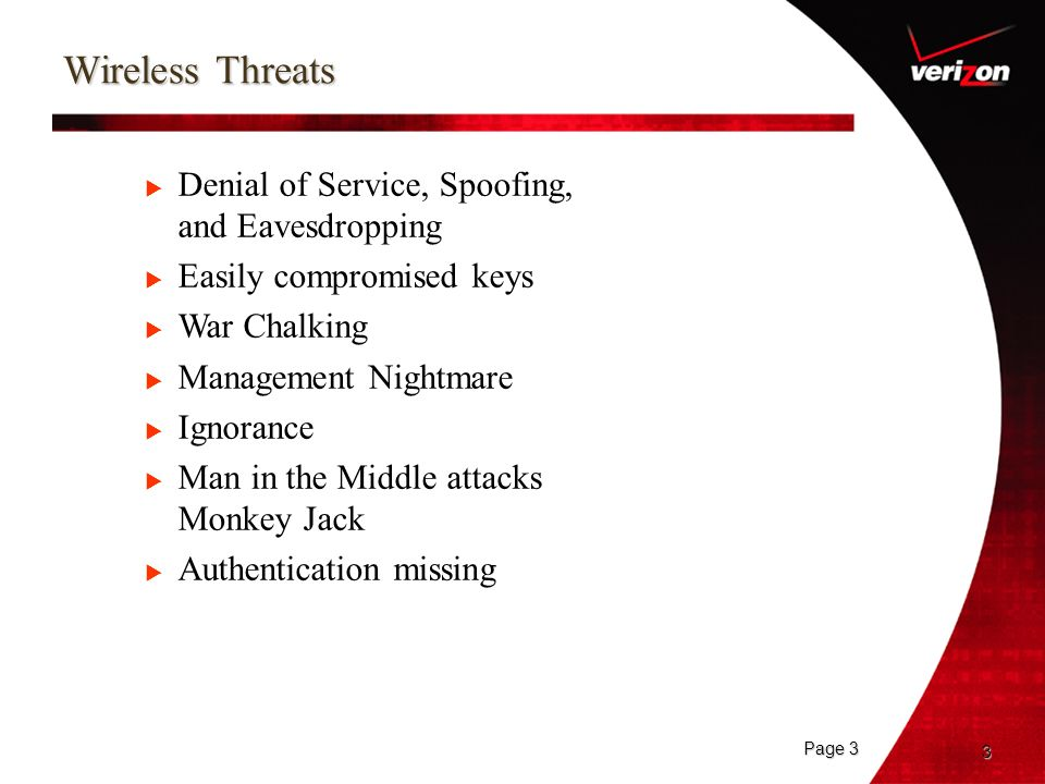 Wireless Threats Denial of Service, Spoofing, and Eavesdropping
