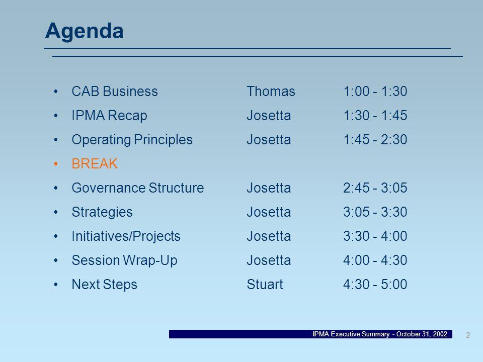 Agenda CAB Business Thomas 1:00 - 1:30 IPMA Recap Josetta 1:30 - 1:45