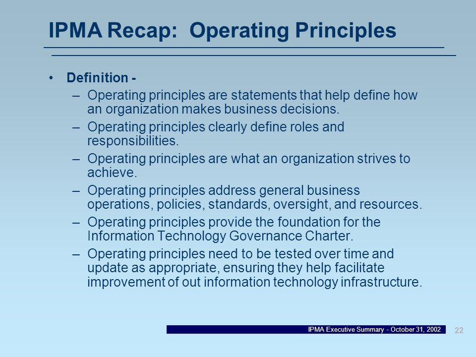 IPMA Recap: Operating Principles
