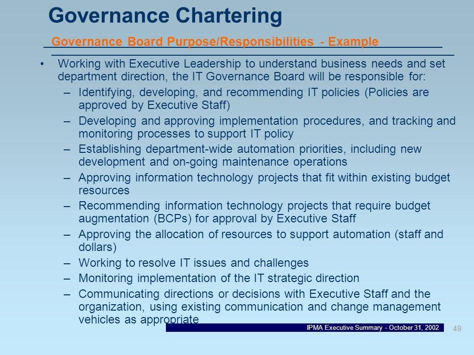 Governance Chartering