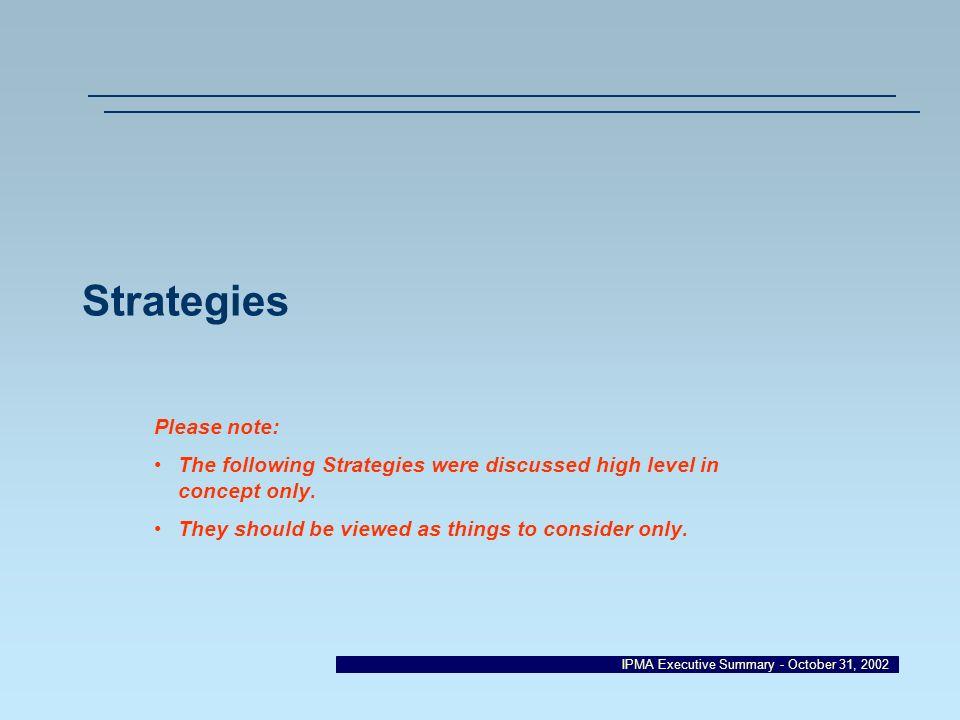 Strategies Please note:
