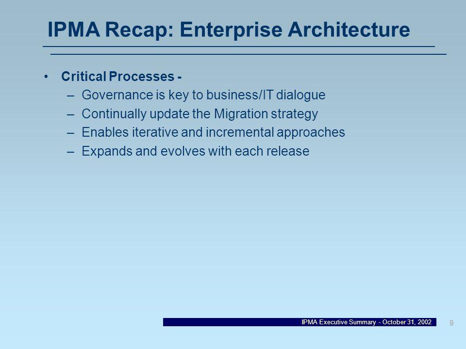 IPMA Recap: Enterprise Architecture