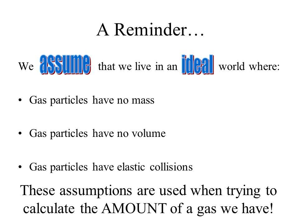 A Reminder… assume ideal