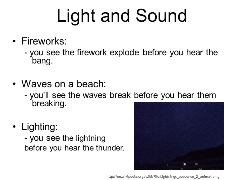 Light and Sound Fireworks: Waves on a beach: Lighting: