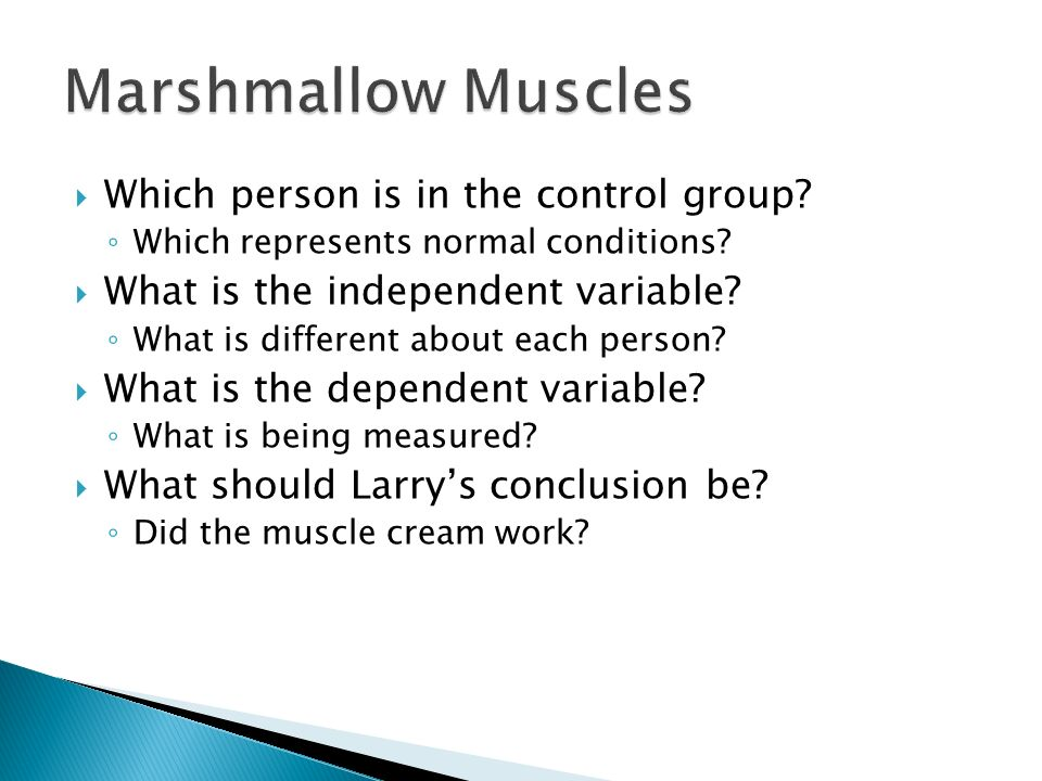 Marshmallow Muscles Which person is in the control group