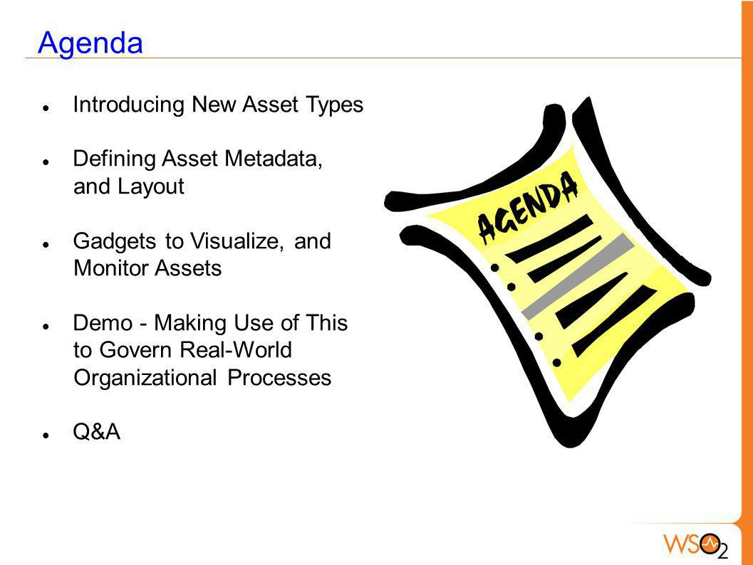 Agenda Introducing New Asset Types Defining Asset Metadata, and Layout