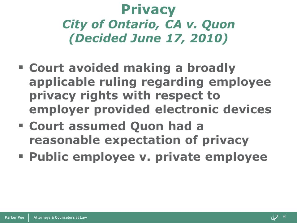 Privacy City of Ontario, CA v. Quon (Decided June 17, 2010)