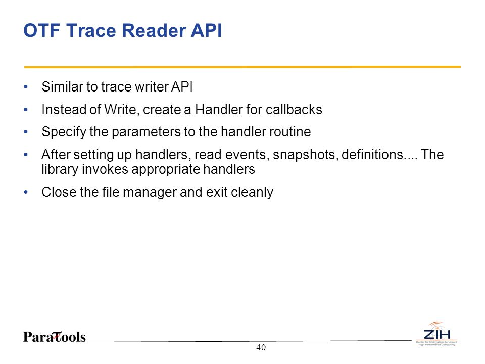 OTF Trace Reader API Similar to trace writer API