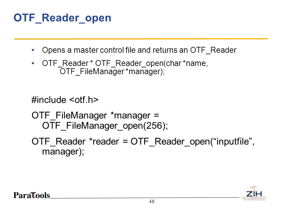 OTF_Reader_open #include <otf.h>