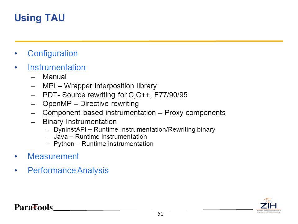 Using TAU Configuration Instrumentation Measurement