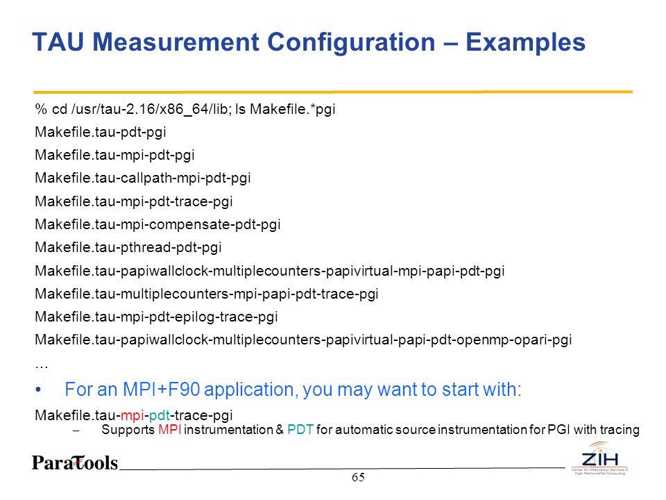 TAU Measurement Configuration – Examples