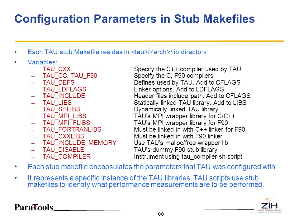 Configuration Parameters in Stub Makefiles