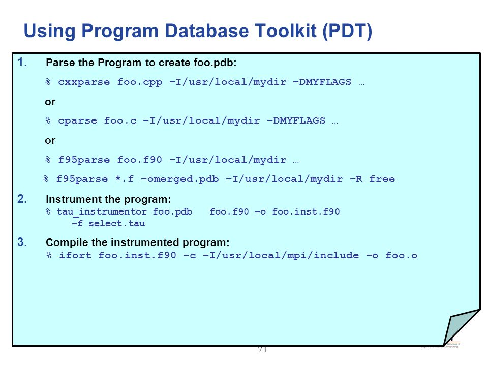 Using Program Database Toolkit (PDT)