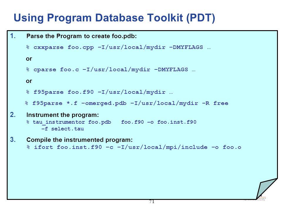Using Program Database Toolkit (PDT)