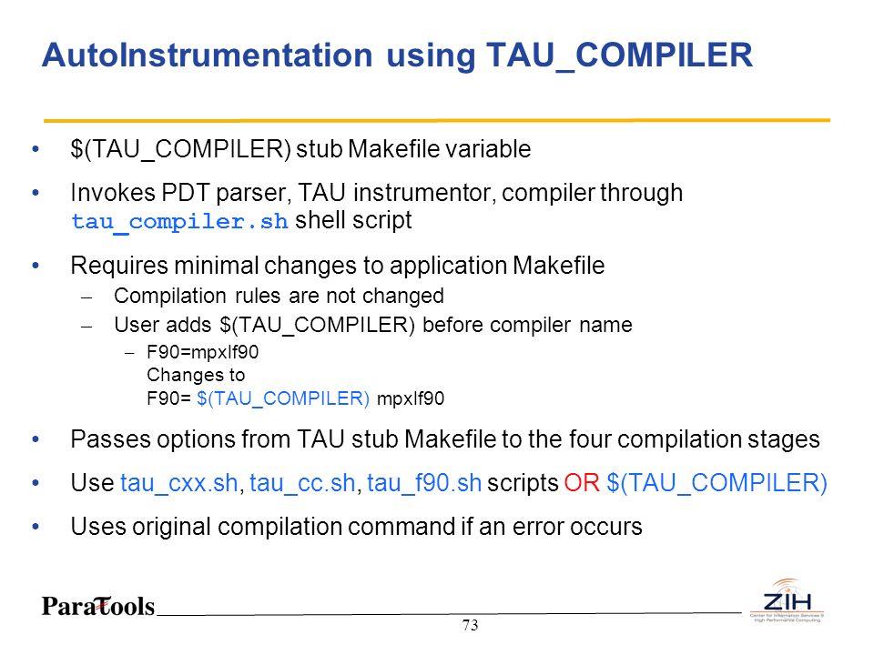 AutoInstrumentation using TAU_COMPILER