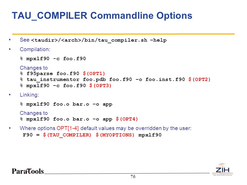TAU_COMPILER Commandline Options