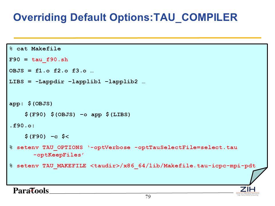 Overriding Default Options:TAU_COMPILER