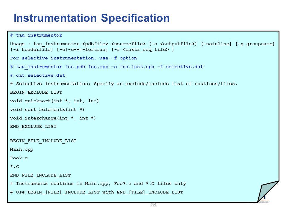 Instrumentation Specification