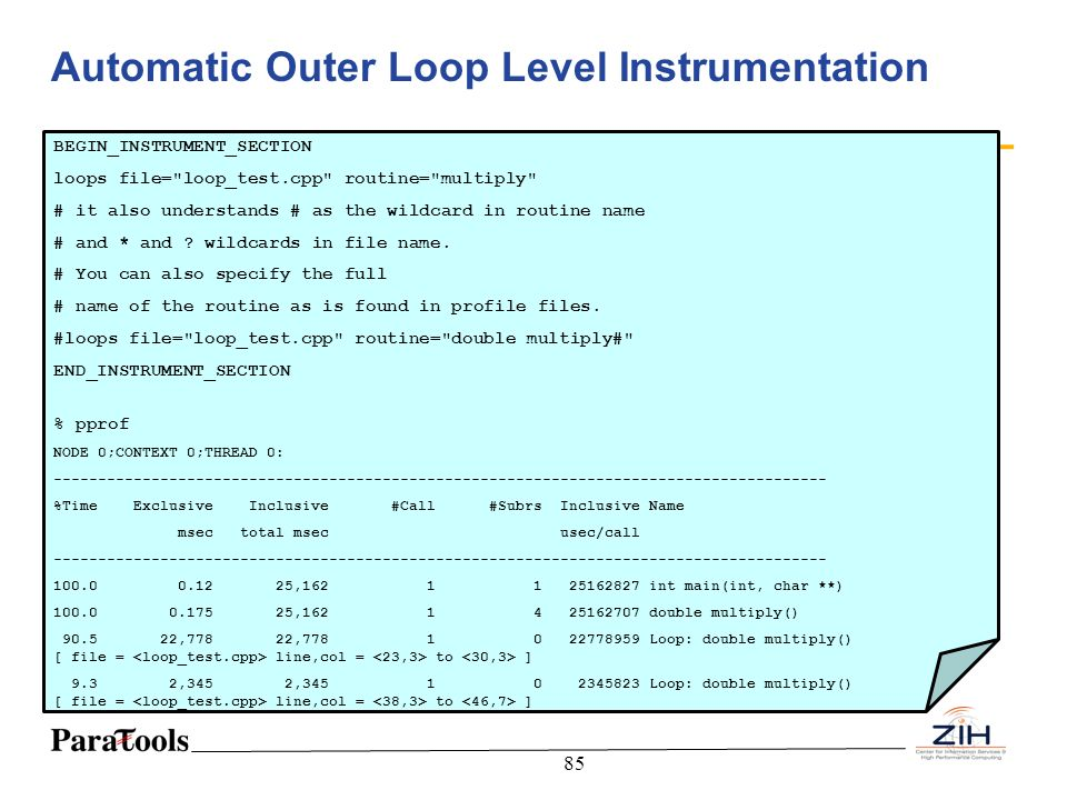 Automatic Outer Loop Level Instrumentation