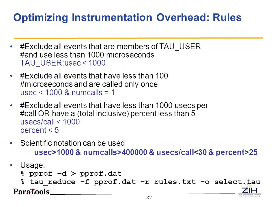 Optimizing Instrumentation Overhead: Rules