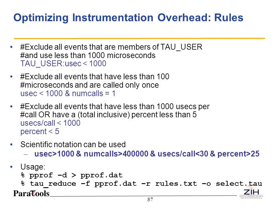 Optimizing Instrumentation Overhead: Rules