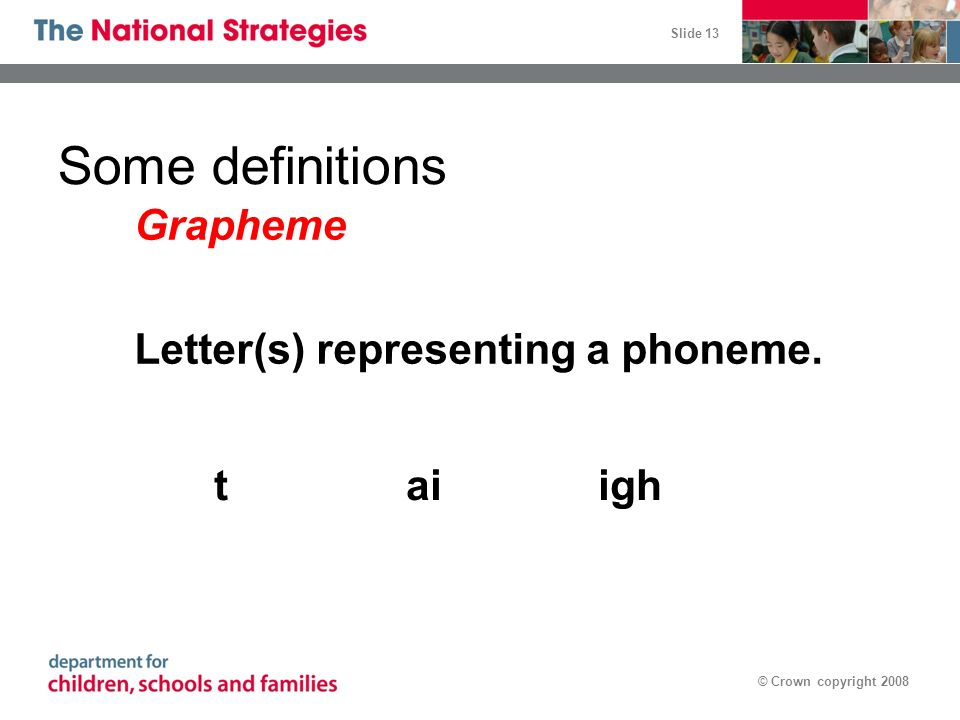 Some definitions Grapheme Letter(s) representing a phoneme. t ai igh