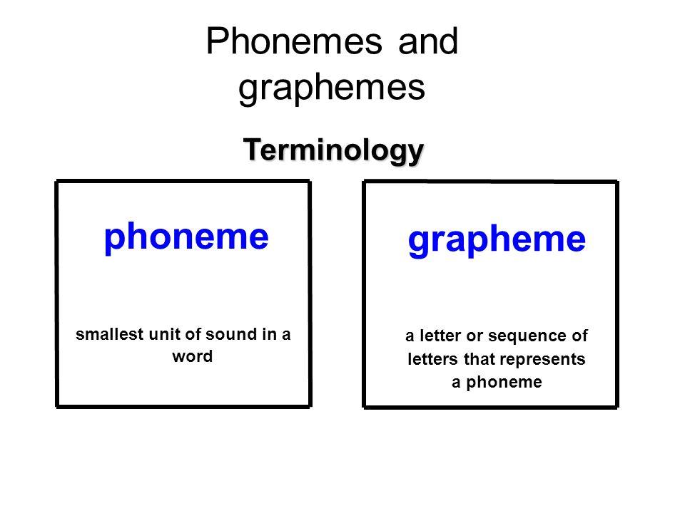 Phonemes and graphemes