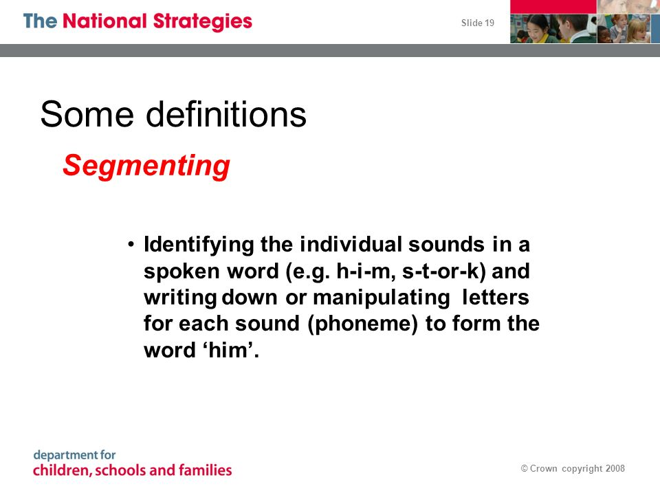 Some definitions Segmenting