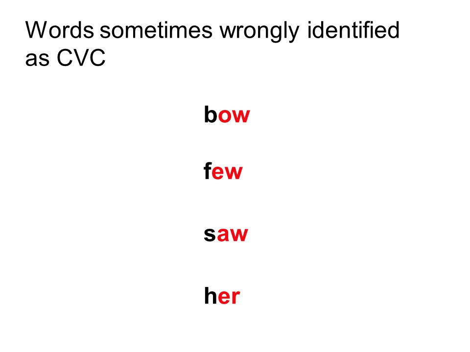 Words sometimes wrongly identified as CVC