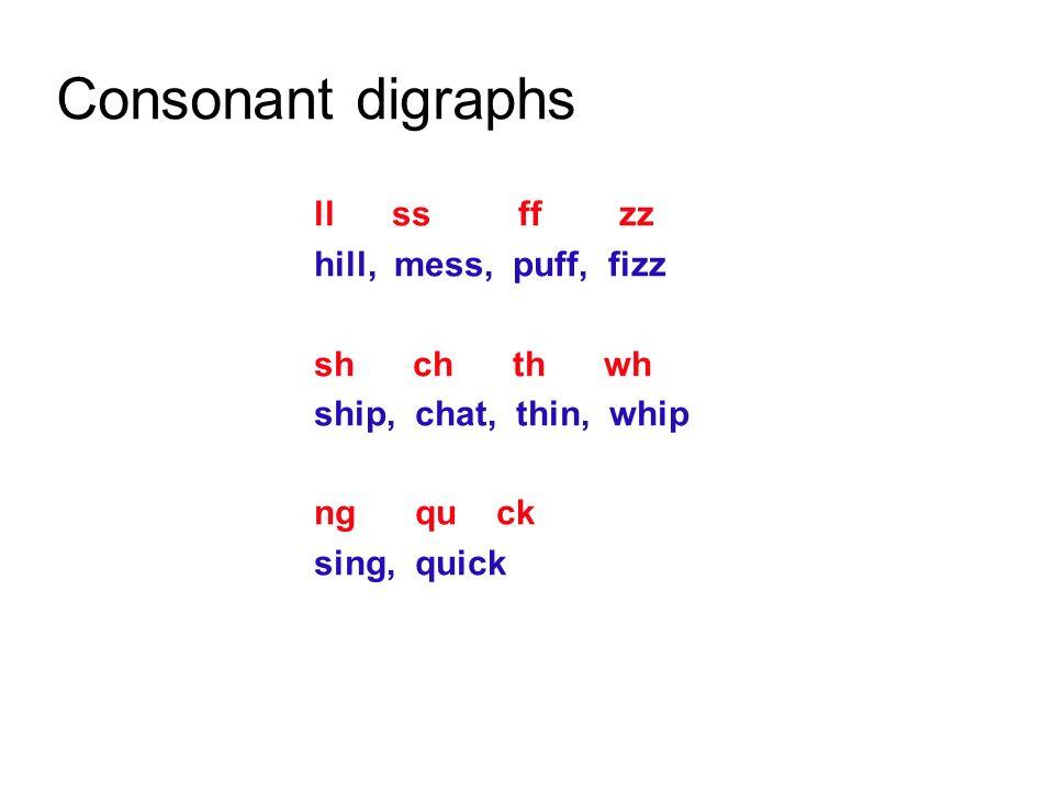 Consonant digraphs ll ss ff zz hill, mess, puff, fizz sh ch th wh