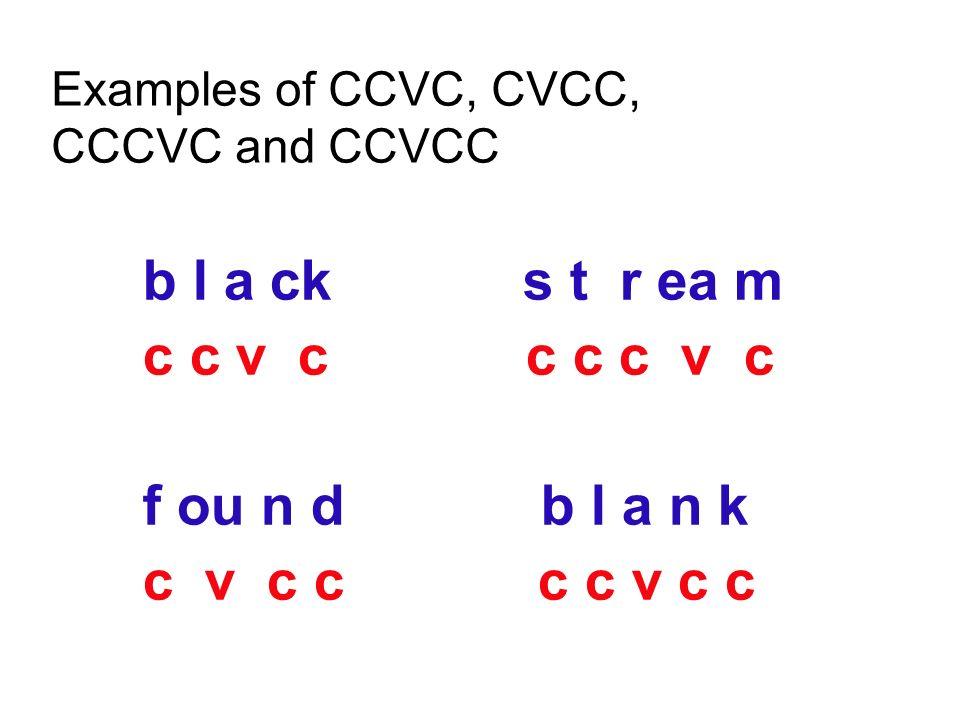 Examples of CCVC, CVCC, CCCVC and CCVCC