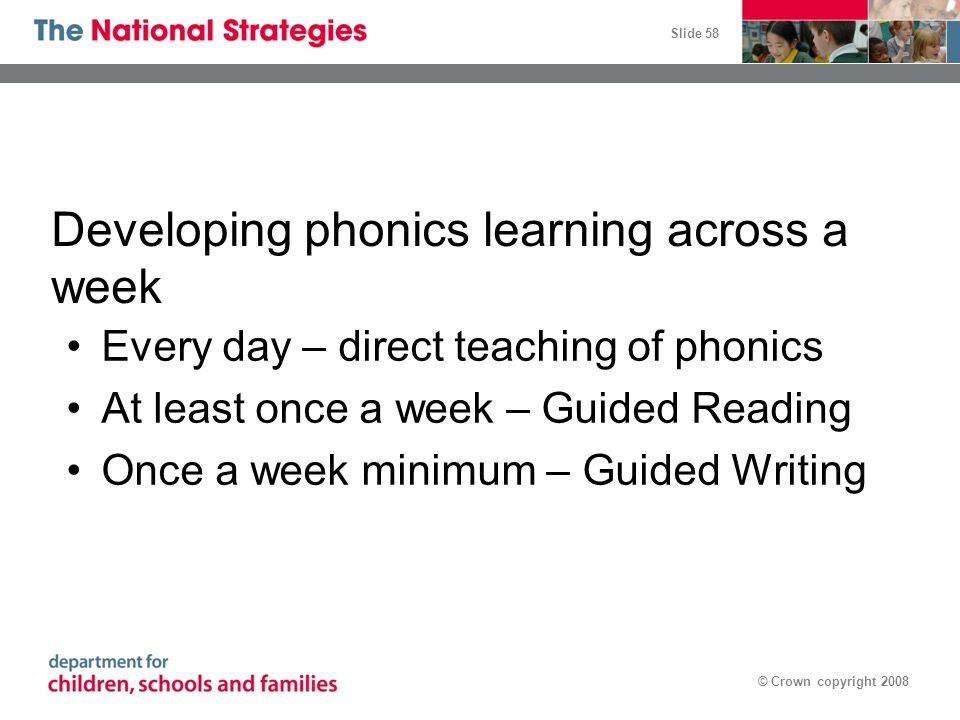 Developing phonics learning across a week