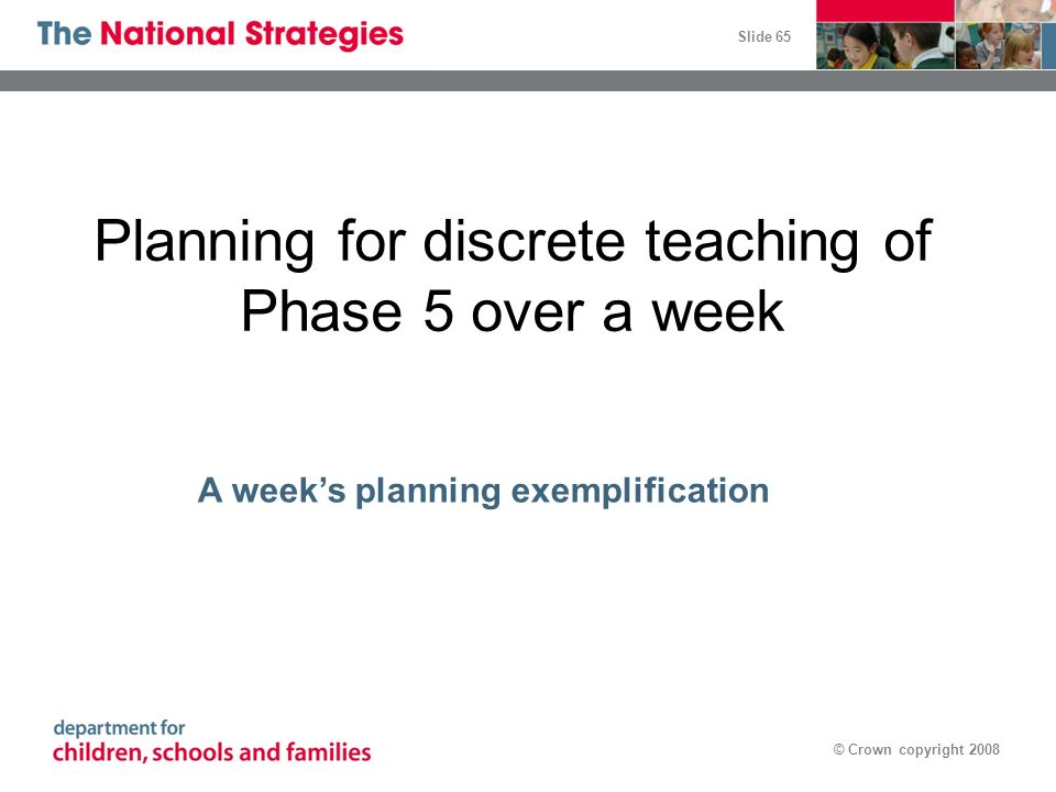 Planning for discrete teaching of Phase 5 over a week