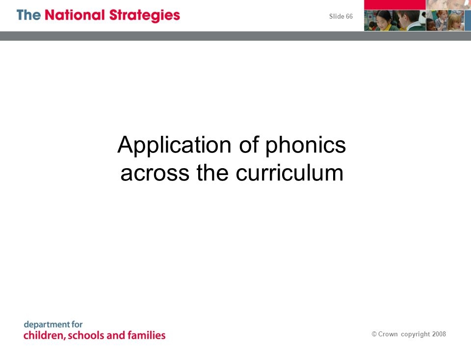 Application of phonics across the curriculum