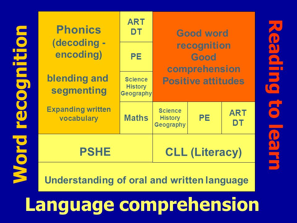 Understanding of oral and written language Language comprehension